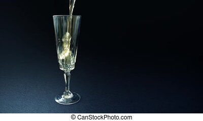 Champagne Pours Into Elegant Glass