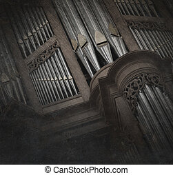 Creepy image of an old pipe organ in a church - Vintage,...