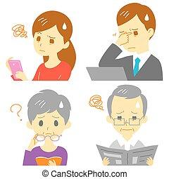 Presbyopia eyestrain - men and women suffering from...