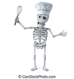 3d Skeleton chef with whisk - 3d render of a skeleton...