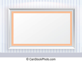 Blue striped line pattern wallpaper with picture frames and spot light