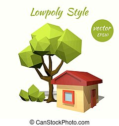 Green tree and a rustic house on a white background Low poly...