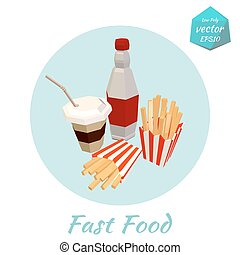 Icon of fast food items. Low Poly
