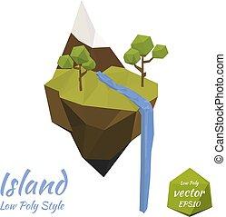 Flying island. Ecological symbol.