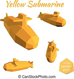 Set submarines isolated on white