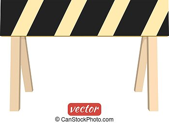 Barrier isolated on white background Black and yellow stripe...