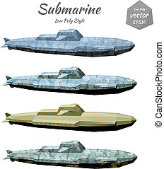 Set submarines khaki isolated on white background Low poly...