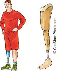white background vector illustration of a prosthetic leg