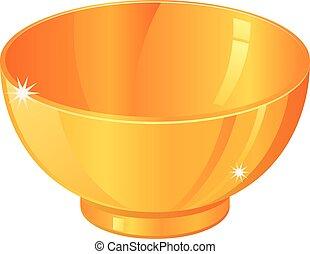 Gold bowl vector icon