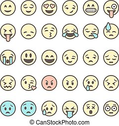 Set of outline emoticons, colorful emoji isolated on white...