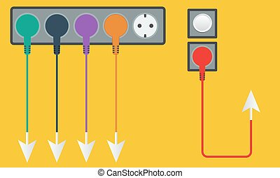 Plug, socket with colored cables and arrow