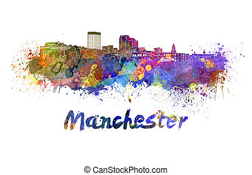Manchester NH skyline in watercolor splatters with clipping...