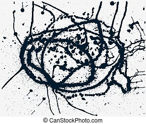 Splatter Black Ink Background. Hand Drawn Spray Blots