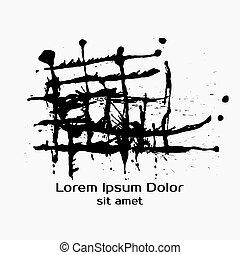 Construction Splatter Black Ink Background. Logo and label templ