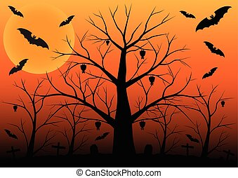 DEAD TREE - Halloween background with bats and dead trees...