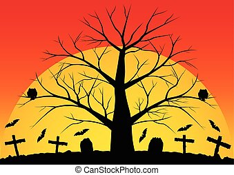 Dead trees with bats - Halloween background with bats the...