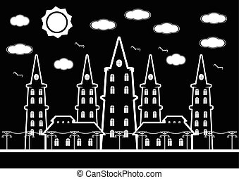 Black and white castle in city with birds and sun cound for background. Vector illustration.