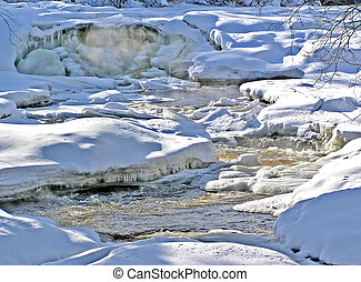 Snow banks and raging river