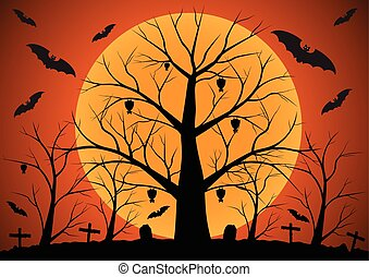 Halloween background with bats and dead trees Vector...