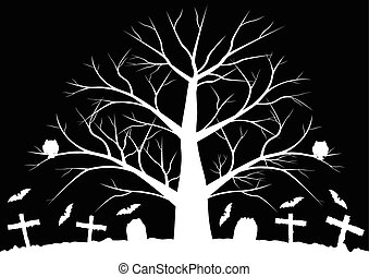 Dead trees with bats - Halloween background with bats and...