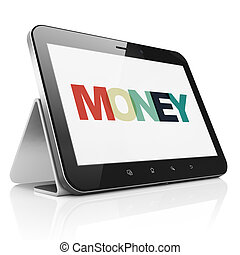 Banking concept: Tablet Computer with Money on  display