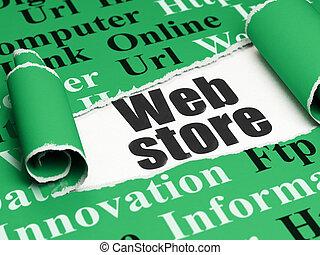 Web development concept: black text Web Store under the...