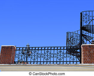 Wrought iron stairs and baluster - Wrought iron and...