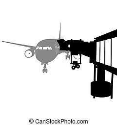 Jet airplane docked in Airport. Vector illustration.