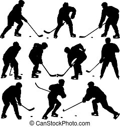 Set silhouettes of hockey player. Isolated on white. Vector