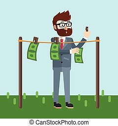 Business man drying money