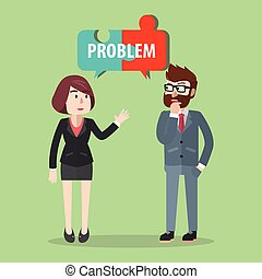 man and woman solving problem