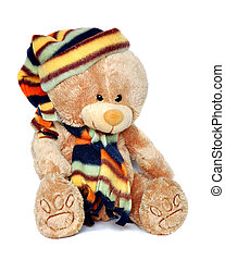 Teddy bear with cap and scarf