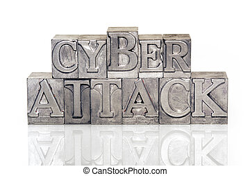 cyber attack phrase made from metallic letterpress type on...