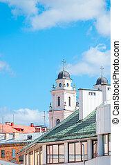 藍色, 教堂, 天空, 針對, 屋頂, 尖頂