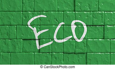 Green painted brick wall with Eco text graffiti