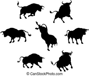 Bull Silhouettes - A series of bull cattle animal...