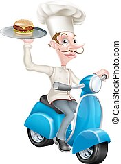 Cartoon Chef on Scooter Moped Delivering Burger