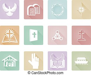 Set of Christian Icons - A set of Christian icons and...