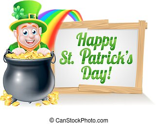 Happy St Patricks Day Leprechaun Sign - Leprechaun cartoon...