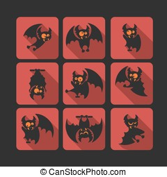 Quadrate flat vector icon set with vampire bat for...