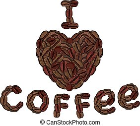 coffee beans love concept