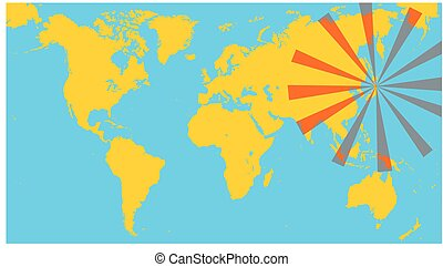 radioactivity and world map as global problem illustration