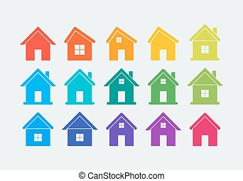 15 colored house icons