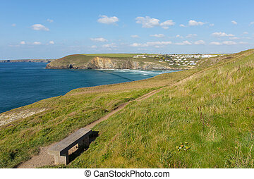 South west coast path Mawgan Porth north Cornwall England...