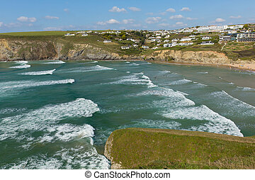 Surf and waves Mawgan Porth beach - Mawgan Porth north...