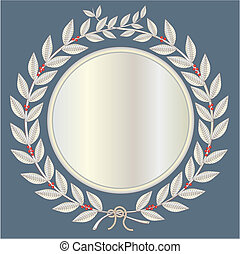 laurel wreath in silver with red laurel berries
