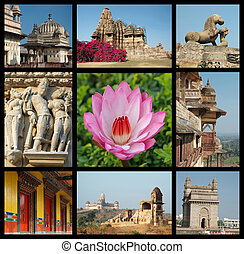 Go India collage - background with travel photos of Indian landmarks