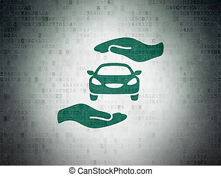 Insurance concept: Car And Palm on Digital Paper background...