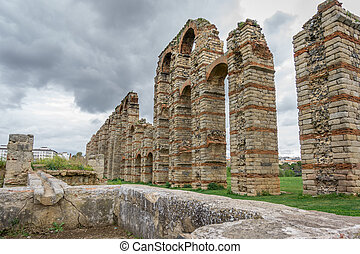 Perspective of aqueduct of the Miracles in Merida, Spain,...