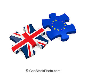 Brexit Puzzle Pieces Isolated on white background. 3D render